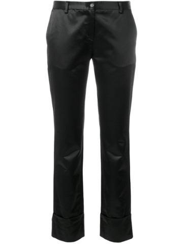 Romeo Gigli Vintage Cropped Slim Trousers - Black