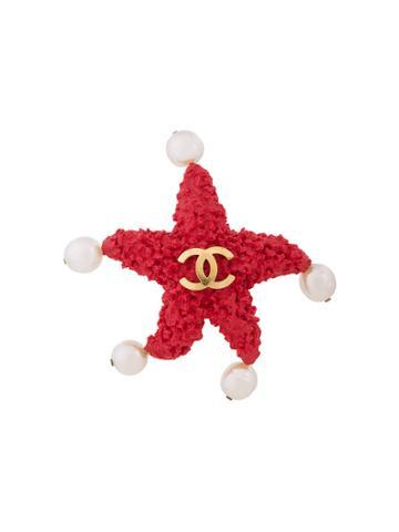 Chanel Vintage Logo Star Brooch - Red