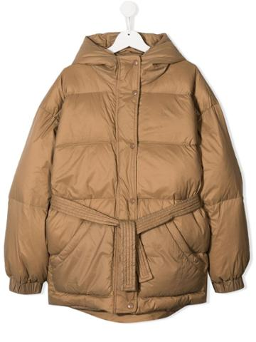 Douuod Kids Teen Hooded Padded Jacket - Brown