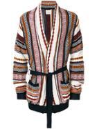 Laneus Patterned Longline Cardigan - Multicolour