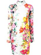Blumarine Floral Print Mock Neck Dress