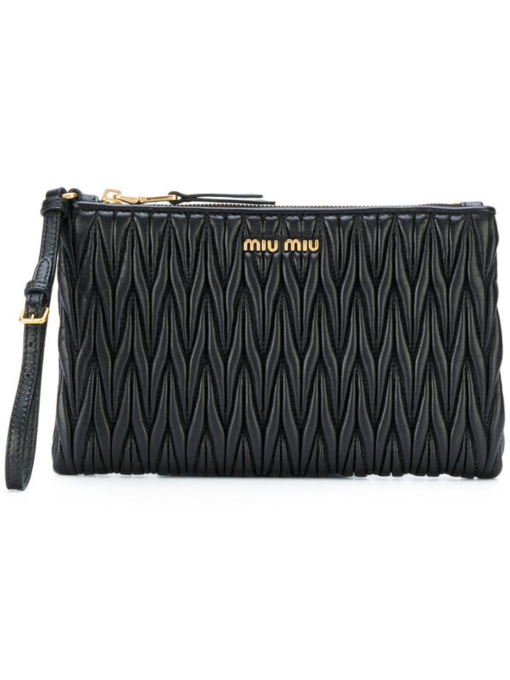 Miu Miu Matelassé Beauty Case - Black