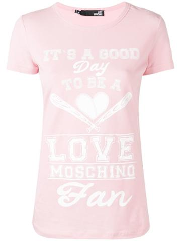 Love Moschino Quote Print T-shirt - Pink