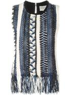 Sea Fringed Hem Striped Knitted Top