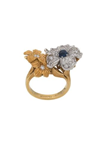 Carrera 18kt Yellow Gold, Sapphire And Diamond Flower Ring - 10101