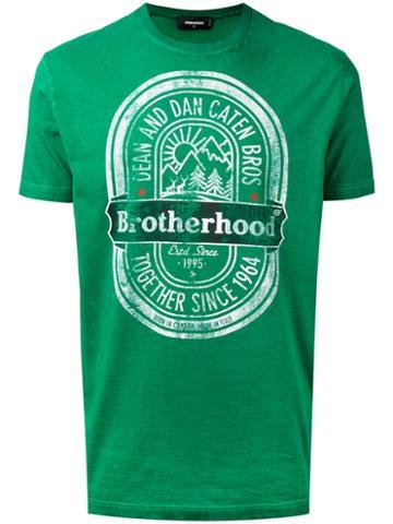 Dsquared2 - 'brotherhood' T-shirt - Men - Cotton - Xxxl, Green, Cotton