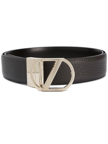 Z Zegna Silver Logo Buckle Belt - Brown