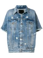 R13 Cropped Sleeves Denim Jacket - Blue