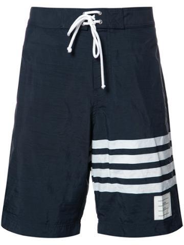 Thom Browne Striped Swim Shorts, Men's, Size: 2, Blue, Nylon