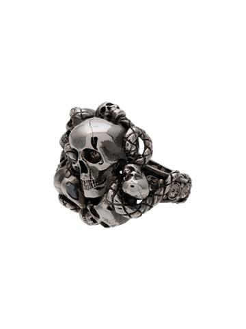 Alexander Mcqueen Silver Chunky Skull Snake Band Ring - Metallic