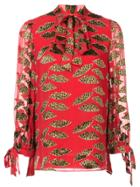 Alice+olivia Leopard Print Blouse - Red