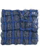 Y's Plaid Fringed Scarf - Blue