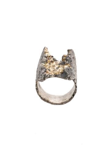 Tobias Wistisen Textured Ring, Men's, Size: 64, Metallic