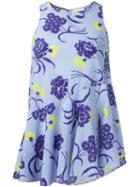 P.a.r.o.s.h. Floral Print Tank Top, Women's, Blue, Silk/spandex/elastane