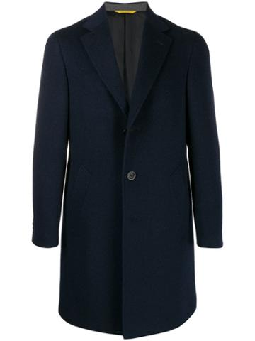 Canali Single-breasted Wool Coat - Blue