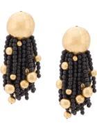 Monies Bead Drop Earrings - Black