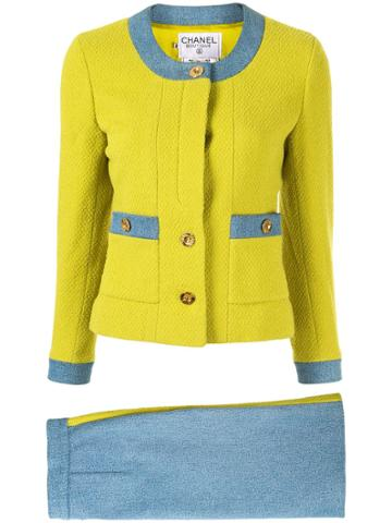 Chanel Pre-owned Woven Denim Skirt Suit - Yellow