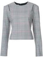 Monse Plaid Zipped Shoulders Blouse - Grey