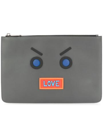 Fendi Faces Embroidered Clutch - Black