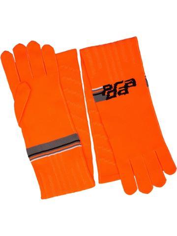 Prada Logo Print Gloves - Orange