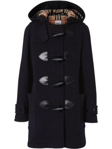Burberry Wool Blend Duffle Coat - Blue