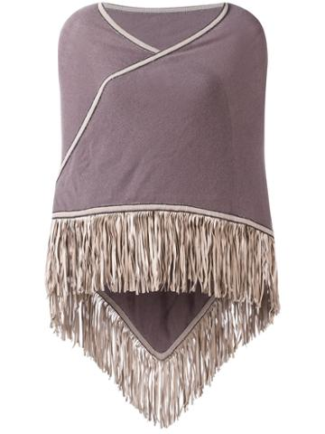 Antonia Zander Fringed Trim Cape, Women's, Pink/purple, Cashmere