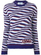 Prada Cashmere Geometric Stripes Sweater - Blue