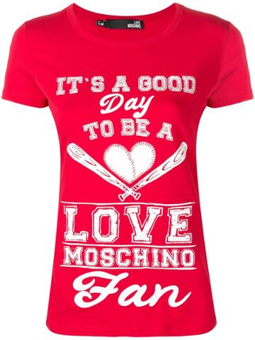 Love Moschino Quote Print T-shirt - Red