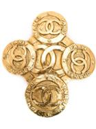 Chanel Vintage Cross Logo Brooch