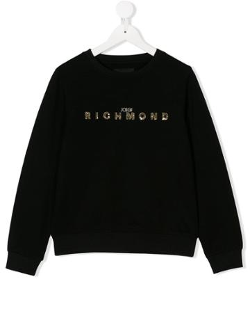 John Richmond Junior Teen Sequinned Logo Sweatshirt - Black
