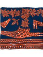 Valentino Floral Print Scarf, Women's, Blue, Silk