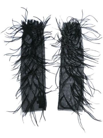 J. Mendel Feather Embellished Mesh Evening Gloves - Black