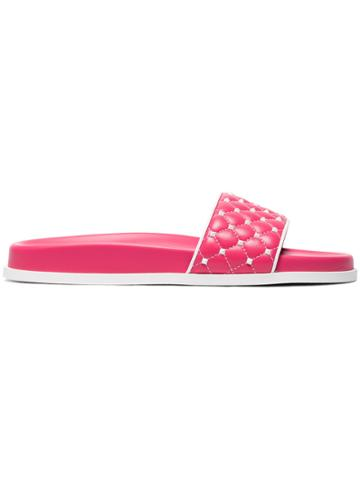 Valentino Pink Rockstud Spike Leather Slides - Pink & Purple