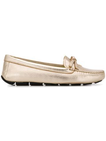 Prada Lettering Logo Loafers - Gold