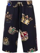 Dolce & Gabbana Crown Print Track Shorts - Black