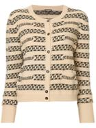 Chanel Vintage Logo Intarsia Cardigan - Brown