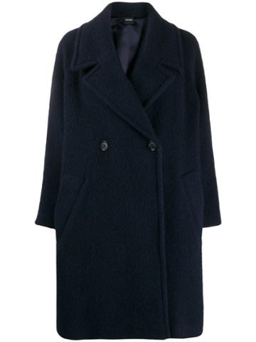 Aspesi Double Breasted Wool Coat - Blue
