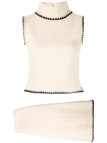 Chanel Pre-owned Textured Knitted Turtleneck And Skirt Set - White