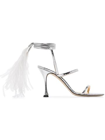 Liudmila Metallic Cheekee 100 Feather Anklet Strappy Leather Sandals -