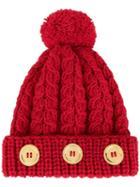 0711 Pompom Knit Beanie - Red