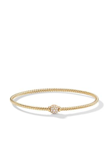 David Yurman 18kt Yellow Gold Petite Solari Station Diamond Bangle -