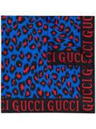 Gucci Leopard Print Scarf - Blue