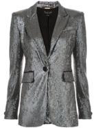Rachel Zoe Single Button Sequin Jacket - Metallic