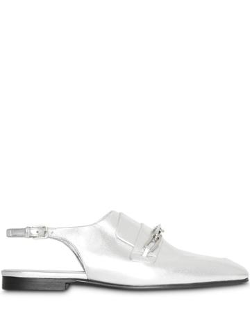 Burberry Link Detail Slingback Loafers - Silver