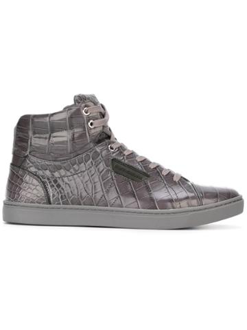 Dolce & Gabbana Crocodile Skin Hi-tops, Men's, Size: 42, Grey, Rubber/leather