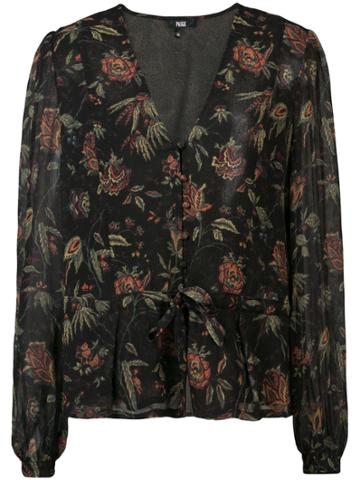 Paige Floral V-neck Blouse - Black
