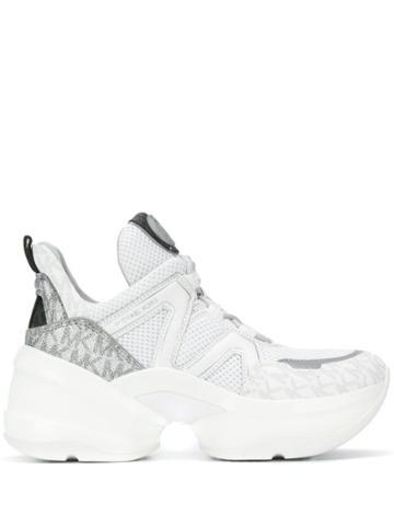 Michael Michael Kors Platform Trek Style Sneakers - White