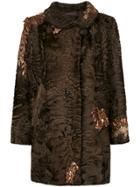 Liska Sequin Embroidery Coat - Brown