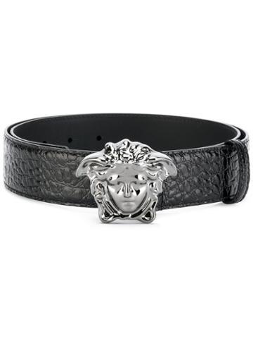 Versace - Crocodile-effect Medusa Palazzo Belt - Men - Calf Leather - 85, Black, Calf Leather