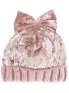 Federica Moretti Velvet Bow Beanie - Pink & Purple